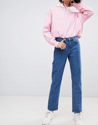 Weekday Mid Rise Slim Straight Jean In Organic Cotton Base Blue