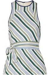 Tory Burch Villa Striped Satin Twill Top Green