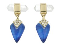 Alexis Bittar Mini Rock Crystal Post Drop Earrings Iridescent Cobalt Clear Earring Blue