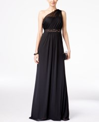Adrianna Papell Embellished One Shoulder Gown Black