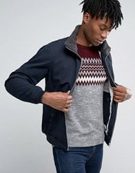 Pull And Bear Pullandbear Navy Harrington Jacket With Faux Sherling Collar Navy Blue