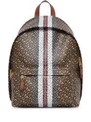 Burberry Monogram Stripe Print E Canvas Backpack Brown
