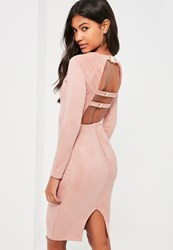 Missguided Pink Bonded Suede Buckle Back Midi Dress