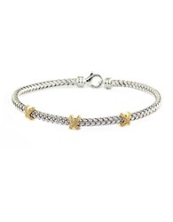 Effy Balissima Sterling Silver Diamond And 14K Yellow Gold Braided Tennis Bracelet Gold Silver
