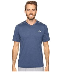 The North Face Reactor Short Sleeve V Neck Shady Blue Heather Men's Clothing