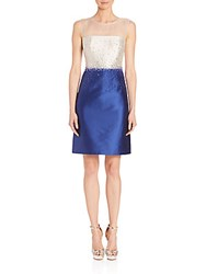 Rickie Freeman For Teri Jon Beaded Colorblock Dress Royal Blue
