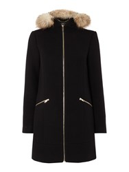 Therapy Zara Zip Up Smart Duffle Coat Black