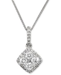 Macy's Diamond Halo Pendant Necklace 1 Ct. T.W. In 14K White Gold