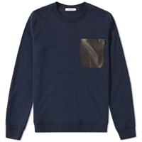 Valentino Leather Pocket Crew Sweat Blue