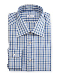 Kiton Box Plaid Long Sleeve Dress Shirt Blue Men's Size 17.5