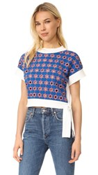 Opening Ceremony Embroidered Cropped Sweater White Multi