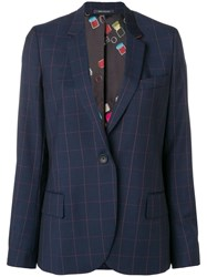 Paul Smith Ps Large Check Blazer Blue