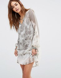 Religion Smock Dress In Muted Tie Dye Raw Grey Moonstruck Multi