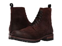 Frye George Lug Brogue Lace Up Dark Brown Waxed Suede Men's Boots