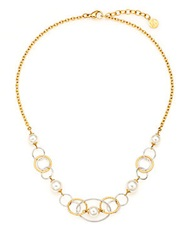 Majorica 8Mm White Round Pearl And Two Tone Link Necklace Gold White