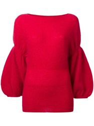 Theatre Products Puff Sleeve Knit Blouse Red