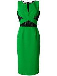 Capucci V Neck Fitted Dress Green