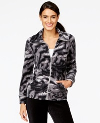 Style And Co. Sport Tiger Print Zip Front Velour Track Jacket Only At Macy's Grey Multi