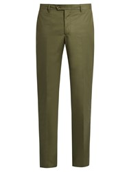 Etro Stretch Cotton Panama Trousers Green
