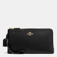 Coach Double Zip Wallet In Polished Pebble Leather Light Gold Black