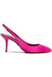 Dolce And Gabbana Woman Bellucci Neon Suede Slingback Pumps Bright Pink