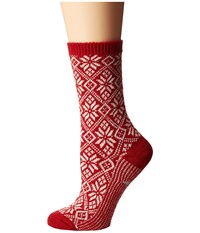 Smartwool Traditional Snowflake Crimson Women's Crew Cut Socks Shoes Red