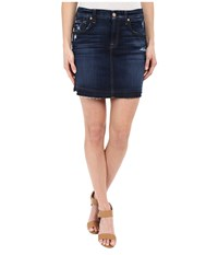 7 For All Mankind Mini Pencil Skirt With Released Hem Distress In Mykonos Dark Indigo Mykonos Dark Indigo Women's Skirt Blue