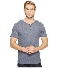 John Varvatos Short Sleeve Knit Henley With Vertical Pickstitch Details K2943t1b Indigo Men's Clothing Blue