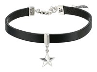 King Baby Studio Leather Choker Necklace With Star Silver Black Necklace Gray