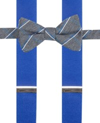 Alfani Men's Holiday Grid Bow Tie And Suspender Set Only At Macy's Blue