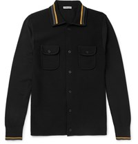 Bottega Veneta Contrast Trimmed Cotton Blend Cardigan Black