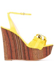 Casadei Fringed Woven Wedge Sandals Women Chamois Leather Leather Kid Leather 41 Yellow Orange