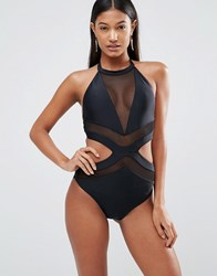 Jaded London Panelled Cut Out Swimsuit Black Multi