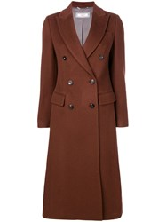Peserico Double Breasted Coat Brown