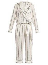Brunello Cucinelli Monili Embellished Striped Silk Jumpsuit White Stripe