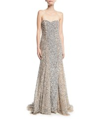 Parker Black Renee Strapless Sweetheart Beaded Gown Silver