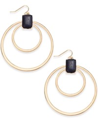 Thalia Sodi Gold Tone Jet Faux Leather Double Hoop Earrings Only At Macy's Black
