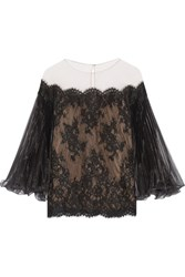Marchesa Off The Shoulder Corded Lace Top Black
