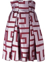 Vivienne Westwood Anglomania Abstract Print Full Skirt Red