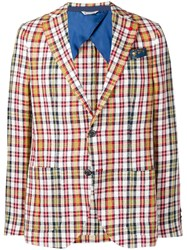 Manuel Ritz Plaid Blazer White