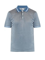 Brioni Contrast Collar Cotton And Silk Blend Polo Shirt Blue Multi