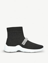 Kurt Geiger Linford Sock Stretch Knit High Top Trainers Blk Other