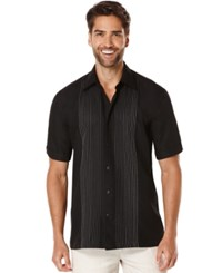 Cubavera Ombre Embroidered Short Sleeve Shirt Jet Black