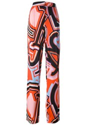 Emilio Pucci Graphic Print Straight Trousers Pink And Purple