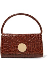 Little Liffner Baguette Croc Effect Leather Shoulder Bag Brown