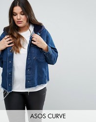 Asos Curve Denim Hooded Jacket With Raw Edges Blue