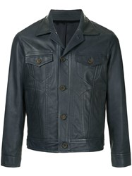 Tomorrowland Buttoned Leather Jacket Blue