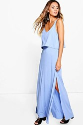 Boohoo Double Layer Maxi Dress With Side Split Blue