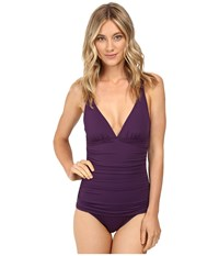 Tommy Bahama Pearl Solids Over The Shoulder V Neck One Piece Regal Purple Women's Swimsuits One Piece