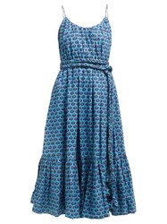 Rhode Resort Lea Belted Abstract Print Cotton Midi Dress Blue Print